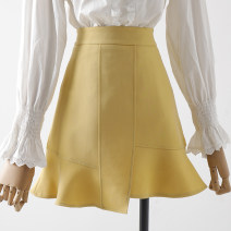 skirt Spring 2021 XS,S,M,L,XL Light blue, black, yellow Short skirt commute High waist A-line skirt Solid color Type A 18-24 years old 31% (inclusive) - 50% (inclusive) other Qin Yao other wave Korean version