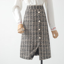 skirt Winter 2020 S,M,L,XL Black, brown Mid length dress commute High waist A-line skirt lattice Type A 18-24 years old 31% (inclusive) - 50% (inclusive) Wool Qin Yao Button Korean version