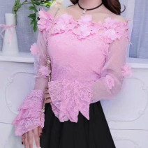 Lace / Chiffon Spring of 2018 S,M,L,XL Long sleeves Sweet Socket singleton  Self cultivation have cash less than that is registered in the accounts One word collar Dot Lotus leaf sleeve solar system