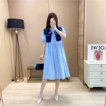 Dress Summer 2021 White, blue, pink S. M, l, XL, one size fits all Mid length dress Fake two pieces Short sleeve Sweet Crew neck Loose waist Solid color Socket Big swing puff sleeve 18-24 years old Type A Splicing 7039 spot 81% (inclusive) - 90% (inclusive) brocade other college