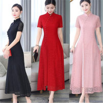 cheongsam Spring 2021 XXL,XXXL,M,L,XL,4XL,5XL Short sleeve long cheongsam Retro daily Oblique lapel Solid color Over 35 years old Piping Ancient times Other / other other 91% (inclusive) - 95% (inclusive)