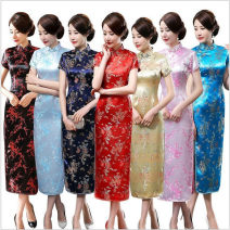cheongsam Spring 2021 XXL,XXXL,S,M,L,XL,4XL,5XL,6XL Short sleeve long cheongsam ethnic style High slit perform Oblique lapel Decor Over 35 years old Embroidery Ancient times Other / other Brocade 81% (inclusive) - 90% (inclusive)