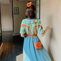 Dress Summer 2020 Interesting second batch of back skirt S,M,L,XL Mid length dress singleton  Short sleeve commute Crew neck Elastic waist Hand painted zipper Big swing routine Others Type X Gulaliang Retro Embroidery, pocket, lace up, stitching other