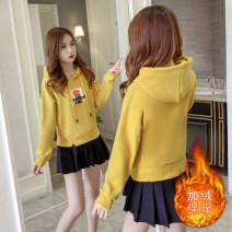 Fashion suit Autumn 2020 S,M,L,XL,2XL Orange red plush sweater, Blue Plush sweater, yellow Plush sweater, black pleated skirt, orange red plush sweater + Black pleated skirt, Blue Plush sweater + white pleated skirt, yellow Plush sweater + Black pleated skirt 18-25 years old cotton