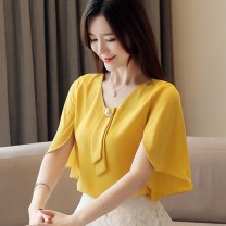 Lace / Chiffon Summer 2021 Red, yellow, white, black [skirt] S,M,L,XL,2XL Short sleeve commute Socket singleton  easy Regular V-neck Solid color Lotus leaf sleeve 25-29 years old Other / other GT639QX138 Fold, tie, splice, three-dimensional decoration, nail bead Korean version 96% and above