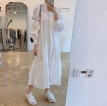 Dress Summer 2020 White, black Average size longuette Long sleeves commute stand collar Single breasted puff sleeve 18-24 years old Korean version