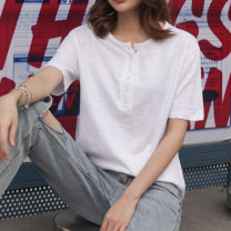 T-shirt white S,M,L,XL,2XL Summer 2021 Short sleeve V-neck easy Regular routine commute cotton 96% and above 18-24 years old Korean version youth Solid color Cotton of cotton EY-F0518 Button, 100% cotton