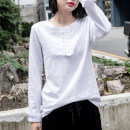 T-shirt white S,M,L,XL,2XL Spring 2021 Long sleeves Crew neck easy Regular Lotus leaf sleeve commute cotton 96% and above 18-24 years old Korean version youth Solid color Cotton of cotton EY-F0357H Ruffles, beads, cuffs folded and split, original design