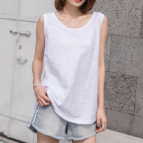 T-shirt white S,M,L,XL,2XL Summer 2021 Sleeveless Crew neck easy Medium length routine commute cotton 96% and above 18-24 years old Korean version youth Solid color Cotton of cotton EY-F0238 Curved hem, lines behind, original design