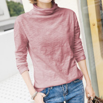 T-shirt S,M,L,XL,2XL Spring 2021 Long sleeves Pile collar easy Regular routine commute cotton 96% and above 18-24 years old Korean version youth Solid color Cotton of cotton