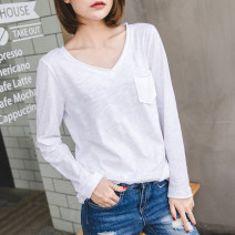T-shirt white S,M,L,XL,2XL Spring 2021 Long sleeves V-neck easy Regular routine commute cotton 96% and above 18-24 years old Korean version youth Cotton of cotton EY-F0049 Pocket, hem, original design