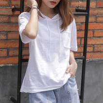 T-shirt White, taro purple S,M,L,XL,2XL Summer 2021 Short sleeve Hood easy Regular routine commute cotton 96% and above 18-24 years old Korean version youth Solid color Cotton of cotton EY-F0542 Pocket, slit, hem, 100% cotton, original design