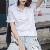 T-shirt S,M,L,XL,2XL,3XL Summer 2021 Short sleeve Hood easy Regular routine commute cotton 96% and above 18-24 years old Korean version youth Solid color Cotton of cotton Pocket, 100% cotton