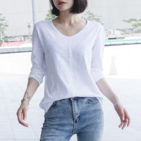 T-shirt white S,M,L,XL,2XL,3XL Spring 2021 Long sleeves V-neck easy Regular routine commute cotton 96% and above 18-24 years old Korean version youth Solid color Cotton of cotton EY-F0012QT Bright line decoration, original design