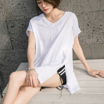 T-shirt white S,M,L,XL,2XL Summer 2021 Short sleeve V-neck easy Medium length routine commute cotton 96% and above 18-24 years old Korean version youth Solid color EY-F0200 Sleeve, split, original design