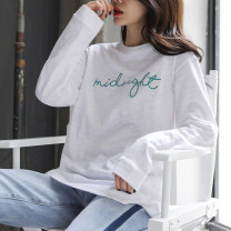 T-shirt white S,M,L,XL,2XL Spring 2021 Long sleeves Crew neck easy Regular routine commute cotton 96% and above 18-24 years old Korean version originality Letters, solid color Cotton of cotton EY-F0567 Embroidery, 100% cotton, original design