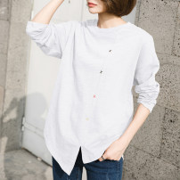 T-shirt Brown, white S,M,L,XL,2XL Spring 2021 Long sleeves Crew neck easy Medium length routine commute cotton 96% and above 18-24 years old Korean version originality Solid color Cotton of cotton