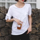 T-shirt white S,M,L,XL,2XL Summer 2021 Short sleeve Crew neck easy Regular routine commute cotton 96% and above 18-24 years old Korean version youth Solid color Cotton of cotton EY-F0282 Ruffles, original design