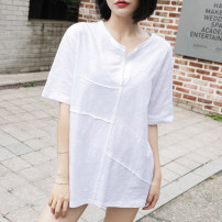 T-shirt white S,M,L,XL,2XL Summer 2021 Short sleeve V-neck easy Medium length routine commute cotton 96% and above 18-24 years old Korean version youth Solid color Cotton of cotton EY-F0179XT Button, 100% cotton, original design