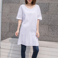 T-shirt white S,M,L,XL,2XL Summer 2021 Short sleeve V-neck easy Medium length routine commute cotton 96% and above 18-24 years old Korean version youth Solid color Cotton of cotton