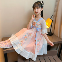Dress Carp embroidered Hanfu dress female Jinke'er The recommended height is 105cm tag 110, 115cm tag 120, 125cm tag 130, 135cm tag 140, 145cm tag 150 and 155cm tag 160 Other 100% summer Chinese style Short sleeve Broken flowers Cotton denim other Class B 14, 5, 9, 12, 7, 8, 6, 13, 11, 4, 10