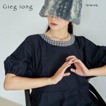 Dress Spring 2020 navy blue S, M longuette Short sleeve Crew neck Big swing puff sleeve Type H