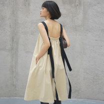 Dress Summer 2021 Beige XS,S,M Mid length dress singleton  Sleeveless commute One word collar Loose waist Solid color Socket Big swing straps Type A Simplicity 21SS - LY01 91% (inclusive) - 95% (inclusive) cotton