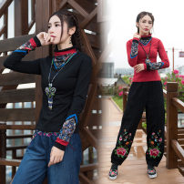 T-shirt Red, black M,L,XL,2XL,3XL,4XL Fall 2017 Long sleeves High collar Self cultivation Regular routine commute cotton 86% (inclusive) -95% (inclusive) ethnic style classic Plants, flowers, splicing Other / other 3D, printing, splicing