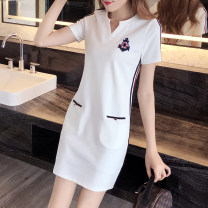 Women's large Summer 2021 Black, white, lace up white, lace up black S [80-90] Jin, m [90-100] Jin, l [100-120] Jin, XL [120-140] Jin, 2XL [140-160] Jin, 3XL [160-180] Jin, 4XL [180-200] Jin Dress singleton  commute Straight cylinder moderate Socket Short sleeve Stripe, solid, other Korean version