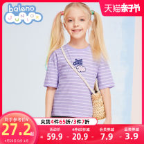 T-shirt 004S stripe yellow 005s stripe pink 006s stripe purple baleno junior 110cm 120cm 130cm 140cm 150cm female summer Short sleeve Crew neck princess There are models in the real shooting nothing cotton rainbow Cotton 100% 8721201G394 Class B Sweat absorption Spring 2021 Chinese Mainland