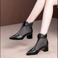 Sandals 35,36,37,38,39,40 black PU Other / other Sharp point Thick heel Middle heel (3-5cm) Spring 2021 Cool boots