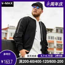Jacket N-MAX Youth fashion black XL 2XL 3XL 4XL 5XL 6XL routine easy Other leisure autumn Polyester 100% Long sleeves Wear out Baseball collar tide Large size routine Zipper placket Straight hem other Autumn of 2019 Arrest line Pure e-commerce (online only) other
