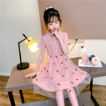 Dress Yellow, pink female Other / other 120cm,130cm,140cm,150cm,160cm,170cm Cotton 85% polyester 15% summer leisure time Broken flowers Cotton blended fabric Splicing style Girls' short sleeve summer dress Class A