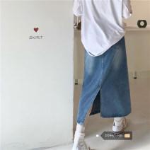 skirt Autumn 2020 S,M,L Blue, carbon grey Middle-skirt commute High waist Denim skirt Solid color Type H MC0802 81% (inclusive) - 90% (inclusive) cotton Korean version