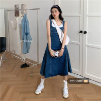 Dress Summer 2020 Graph color S,M,L Miniskirt singleton  Sleeveless commute square neck High waist Solid color straps 18-24 years old Type A Korean version
