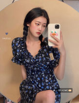 Dress Summer 2020 Picture color S,M,L Short skirt singleton  Short sleeve commute square neck High waist Broken flowers Socket A-line skirt puff sleeve 18-24 years old Type A Retro Ruffles, lace up, print 30% and below other polyester fiber