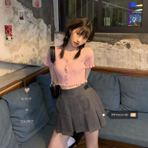 Fashion suit Summer 2021 Separate shots Pink T-shirt, grey skirt s, grey skirt M