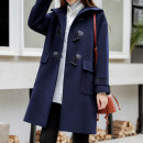 woolen coat Autumn 2020 S,M,L,XL Navy, black, navy with cotton, black with cotton other 95% and above Medium length Long sleeves commute Ox horn buckle routine Hood Solid color Straight cylinder Retro LILANCREEKYA 18-24 years old pocket Solid color polyester fiber