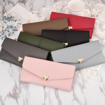 wallet Long Wallet PU Other / other brand new Japan and South Korea female Buckles Solid color 70% off Horizontal style youth Other large banknote holder photo space hidden change space passbook space zipper space ID card space check space passport space Sewing synthetic leather Fox long women's bag