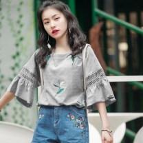 T-shirt 9988 white, 9988 gray, 208 pink, 208 white, 208 black, 218 white, 218 army green, 218 khaki, 9506 stripe M,L,XL,2XL,3XL Summer of 2019 Short sleeve commute cotton 30% and below 18-24 years old Korean version