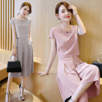 Women's large Summer of 2018 Two piece set commute Self cultivation Socket Short sleeve Solid color Retro Crew neck have cash less than that is registered in the accounts Cropped Trousers