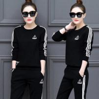 Dress Winter of 2018 920 # black, 920 # dark blue, 920 # red, 920 # gray, 101 @ black stripe M,L,XL,2XL,3XL Two piece set Long sleeves commute routine 18-24 years old Korean version