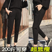 Women's large Autumn of 2019 black Large size L [100-120 Jin recommended], large XL [120-140 Jin recommended], large 2XL [140-160 Jin recommended], large 3XL [160-180 Jin recommended], large 4XL [180-200 Jin recommended] trousers singleton  commute easy moderate Conjoined Solid color Korean version