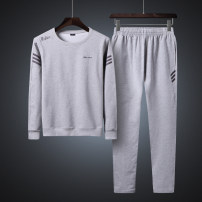 Sweater Fashion City Others Grey, black, red, dark blue M. L, XL, 2XL, 3XL, 4XL suggest 165-180 Jin, 5XL suggest 180-200 Jin Solid color Socket routine Crew neck autumn easy motion middle age Youthful vigor routine polyester fiber Polyester 95% polyurethane elastic fiber (spandex) 5% polyester fiber
