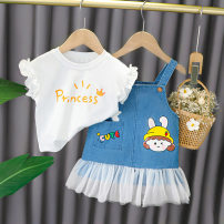 suit Other / other White, yellow, pink 73cm,80cm,90cm,100cm,110cm female summer Korean version Short sleeve + skirt 2 pieces Thin money No model Socket nothing Cartoon animation cotton children Expression of love Class A Cotton 95% other 5% Chinese Mainland