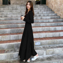Dress Autumn 2020 Black, pumpkin red S,M,L,XL longuette singleton  Long sleeves commute V-neck Elastic waist Solid color Socket Big swing routine 18-24 years old Type H Other / other Korean version 91% (inclusive) - 95% (inclusive) cotton