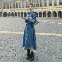 Dress Autumn 2020 Denim blue S,M,L,XL longuette singleton  Long sleeves commute Polo collar High waist Solid color Single breasted A-line skirt routine 18-24 years old Type A Korean version Lace up, button 51% (inclusive) - 70% (inclusive) polyester fiber