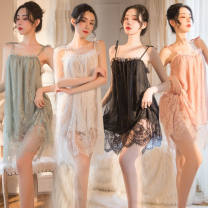 Nightdress Huan Jin S (suitable for 75-85 Jin), m (suitable for 80-100 Jin), l (suitable for 100-115 Jin), XL (suitable for 115-130 Jin), XXL (suitable for 130-145 Jin), 3XL (suitable for 145-180 Jin), 4XL [180-210 Jin] sexy Sleeveless lace Lace fabric