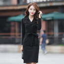 Dress Autumn of 2018 Black, apricot S,M,L,XL,2XL Mid length dress singleton  Long sleeves commute other middle-waisted Solid color Socket One pace skirt routine Others Bowknot, lace, button, zipper LJ1691
