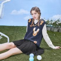 Women's large Spring 2021 Shirt - Beige, knitted vest - Navy Large XL, 2XL, 3XL, 4XL, 5XL street DA10052 10. DAA / Xiada Europe and America